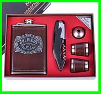 Подарочный Набор 5 в 1 Jack Daniel's (универсальный нож,фляга,рюмки и лейка), фото 1