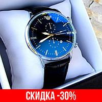 Мужские серебряные наручные часы Emporio Armani / Армани на ремешке