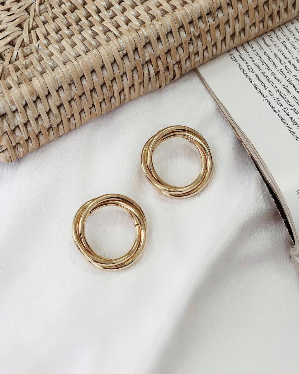 Серьги круглые объемные золотые