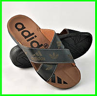 Мужские Шлёпанцы Тапочки ADIDAS Сланцы Черные Адидас (размеры: 41,42,44,45), фото 1