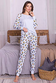 Уютный пижамный трикотажный комплект из хлопка Размеры S M L XL