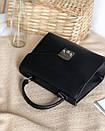 Сумка ROMASHKA трапеция классическая в виде конвертика с замком фурла черная, фото 5