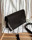 Клатч ROMASHKA мягкий в виде конверта на ремне с цепочкой черный, фото 3