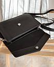Клатч ROMASHKA мягкий в виде конверта на ремне с цепочкой черный, фото 4