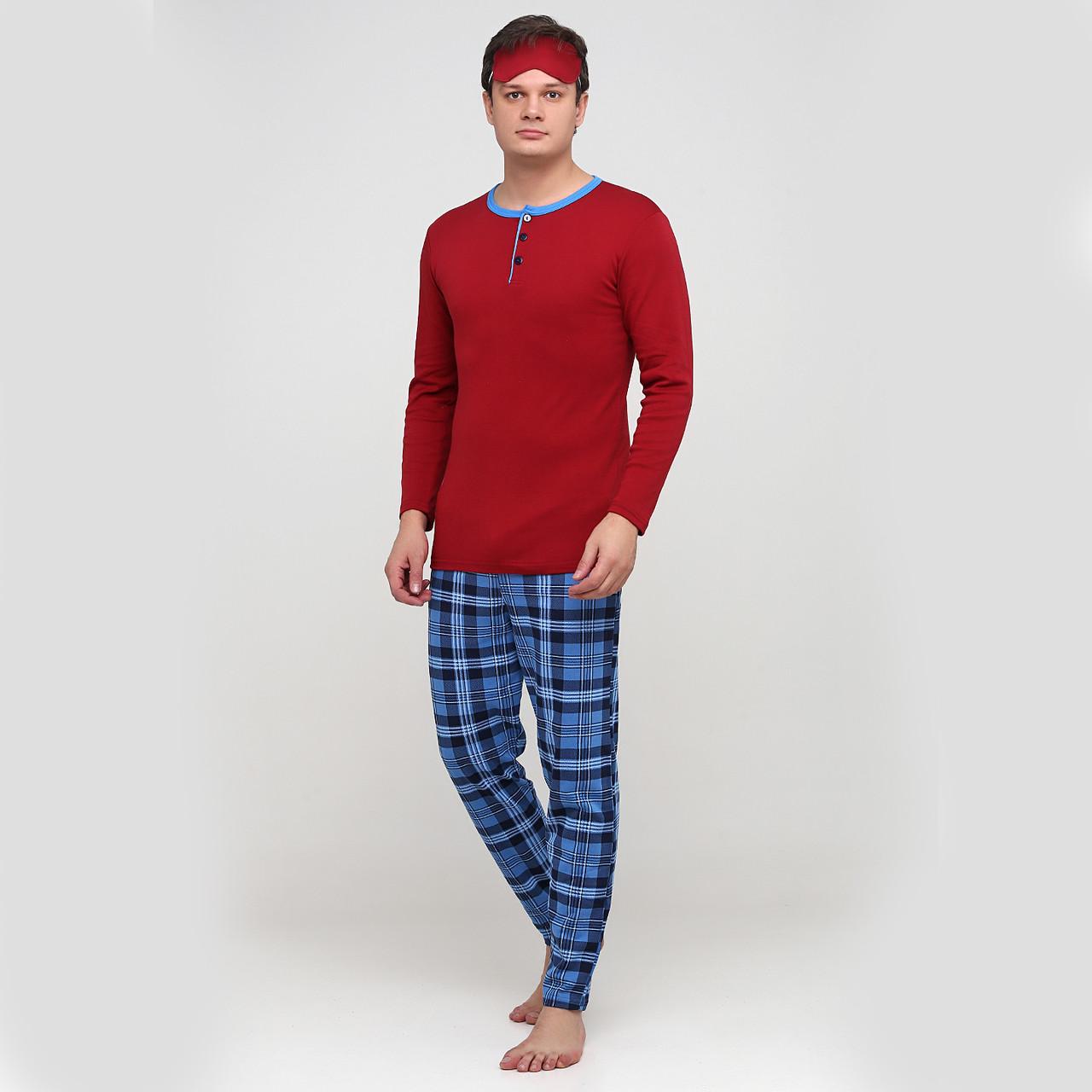"Мужская теплая хлопковая пижама с маской ""Tim""  р. 48-50"