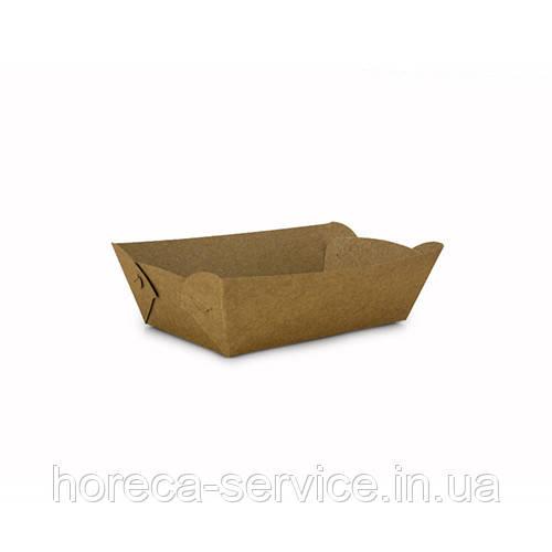 Лодочка тарелка бумажная 180х100х45 крафт 100 шт.