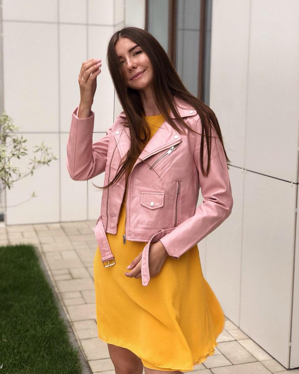 Косуха на молнии с карманами и ремешком розовая
