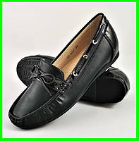 .Женские Мокасины Чёрные Слипоны Кожаные (размеры: 36,39,40,41) - 631, фото 1