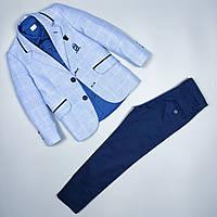 Костюм тройка голубой пиджак рубашка узкие брюки оптом для мальчика 6-10 лет Турция 483-02 134