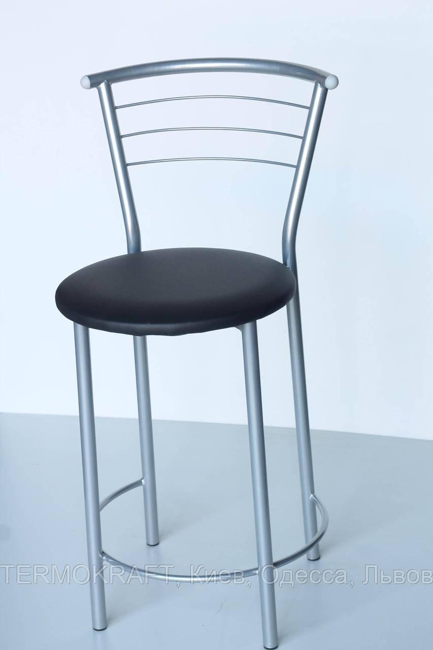 Стул  23012н полубарный alum кожзам черный для кухни, бара, ресторана