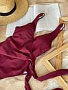 Купальник сдельный с завязками на талии ROMASHKA бордовый, фото 2