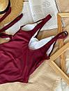 Купальник сдельный с завязками на талии ROMASHKA бордовый, фото 3