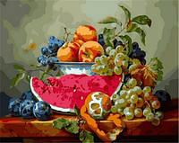 Раскраски по номерам Натюрморт с арбузом и виноградом   Babylon