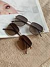 Очки необычной формы с тонкой оправой и дужками ROMASHKA коричневые, фото 4