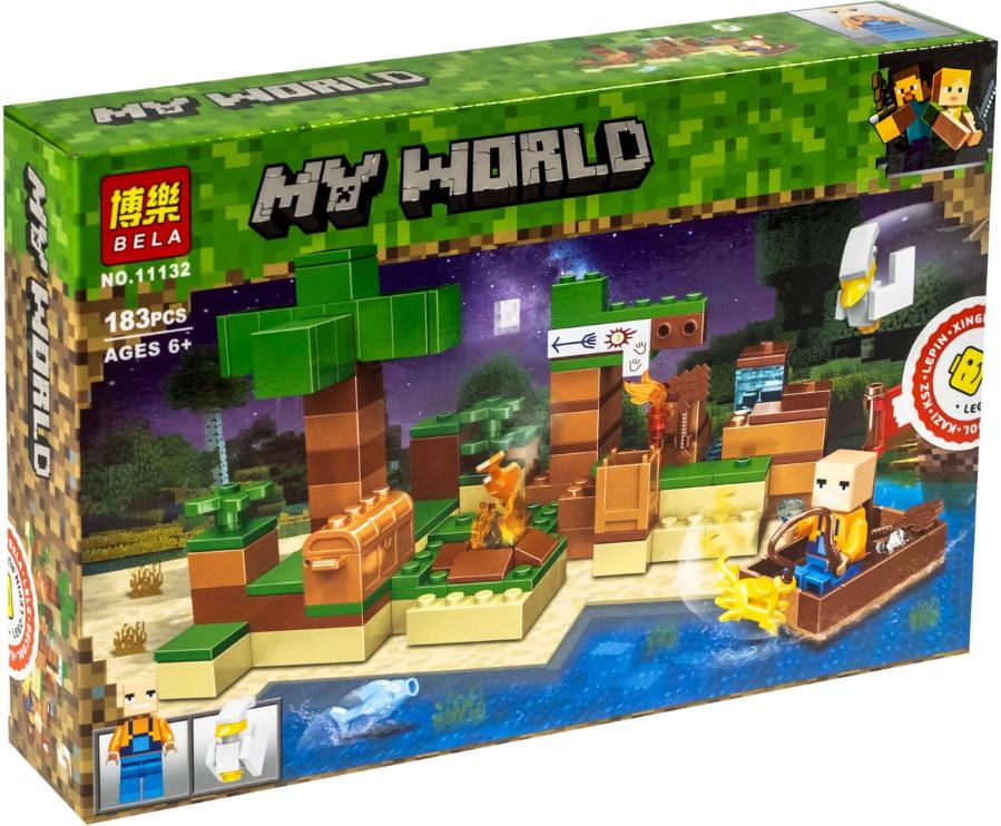 """Конструктор майнкрафт BELA Minecraft  """"Рыбалка"""", 183 детали"""