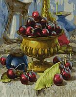 Раскраска по номерам Чаша с черешнями   Brushme