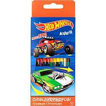 Карандаши цветные двусторонние Hot Wheels, 12 шт. / 24 цвета | Kite