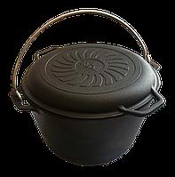 Казан чавунний туристичний з кришкою-сковородою на 8 л Brizoll КТ08-2
