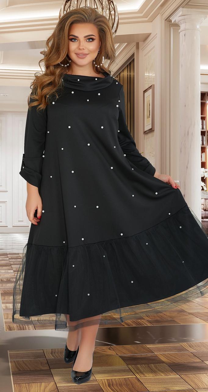 Красивое черное вечернее платье с жемчужинками (батал)