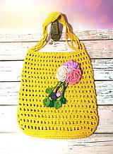 Сумка шоппер желтая с цветком, эко сумка плетенная, авоська, городская сумка для покупок, размер 35*40 см Букет