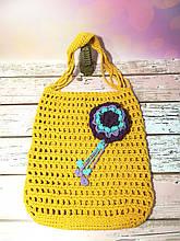 Сумка шоппер желтая с цветком, эко сумка плетенная, авоська, городская сумка для покупок, размер 35*40 см Фиолетовый цветок