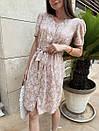 Платье хлопковое в цветочный принт бежевое, фото 2