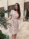 Платье хлопковое в цветочный принт бежевое, фото 3