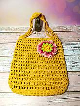 Сумка шоппер желтая с цветком, эко сумка плетенная, авоська, городская сумка для покупок, размер 35*40 см Розовый цветок