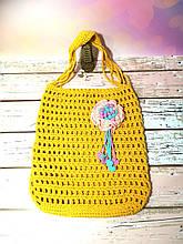 Сумка шоппер желтая с цветком, эко сумка плетенная, авоська, городская сумка для покупок, размер 35*40 см Розово-мятный цветок