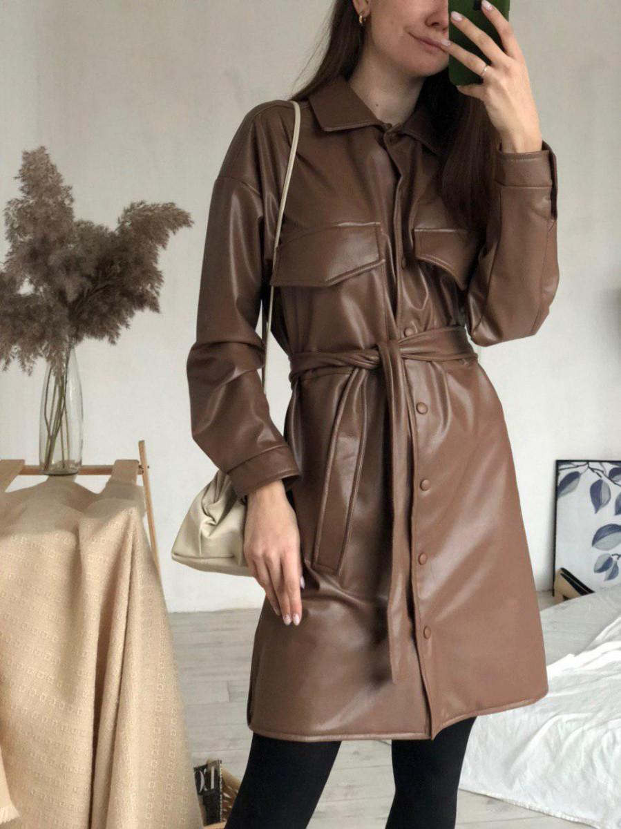 Платье-рубашка кожаная утеплённая, Коричневый, M