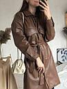 Платье-рубашка кожаная утеплённая, Коричневый, M, фото 3