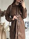 Платье-рубашка кожаная утеплённая, Коричневый, M, фото 4