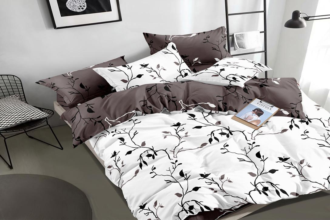 Двуспальный комплект постельного белья евро 200*220 сатин (16176) TM КРИСПОЛ Украина