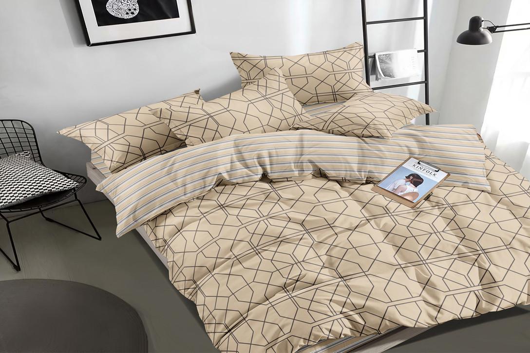 Семейный комплект постельного белья сатин (16197) TM КРИСПОЛ Украина