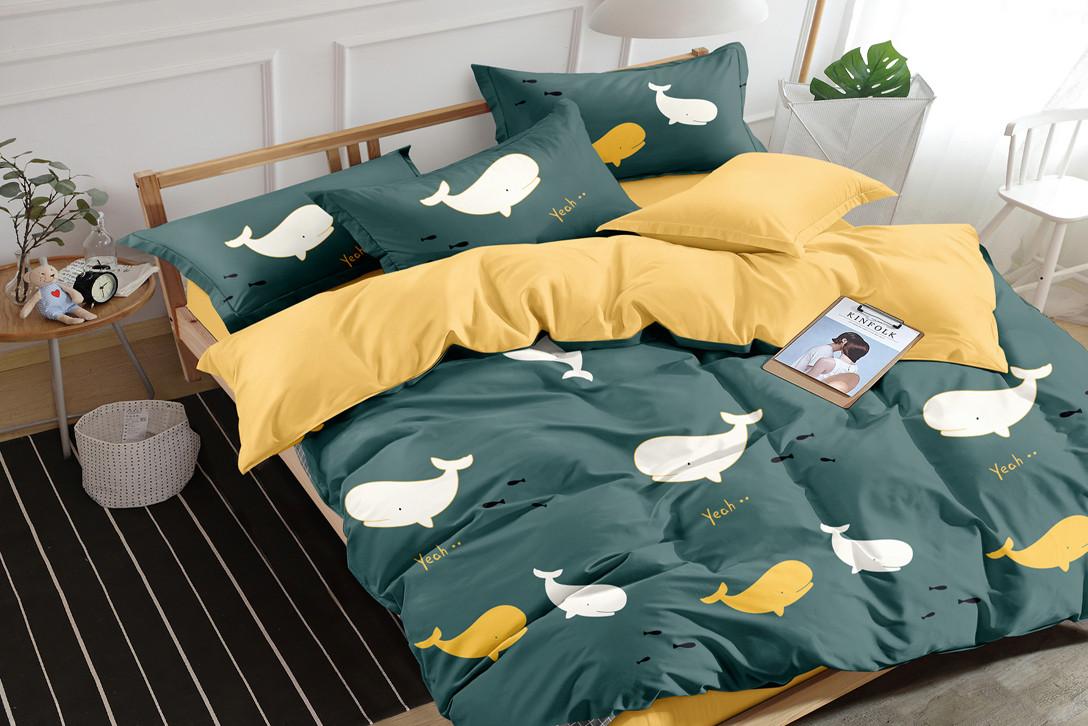 Семейный комплект постельного белья сатин (16200) TM КРИСПОЛ Украина
