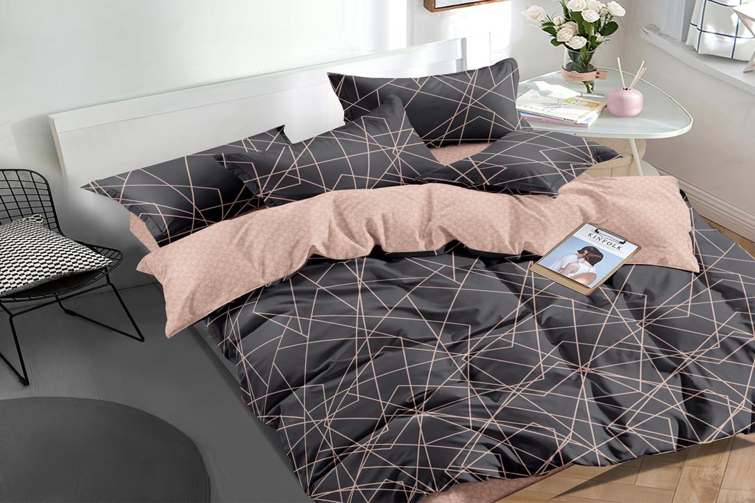 Двуспальный комплект постельного белья 180*220 сатин (16155) TM КРИСПОЛ Украина