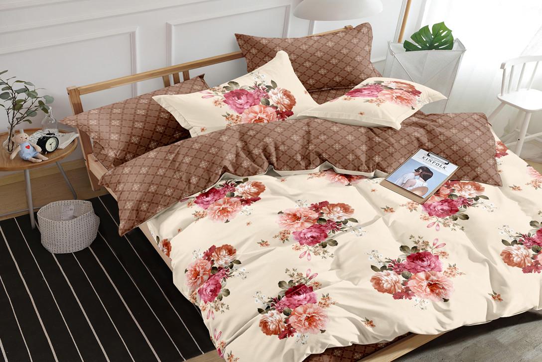 Двуспальный комплект постельного белья 180*220 сатин (16163) TM КРИСПОЛ Украина