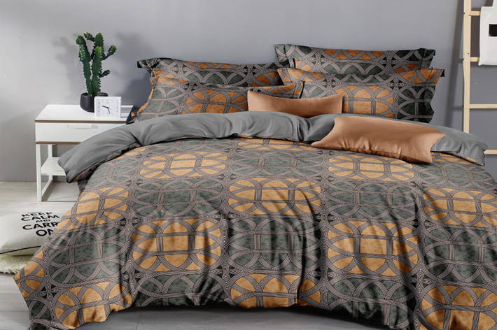 Двуспальный комплект постельного белья евро 200*220 сатин (16168) TM КРИСПОЛ Украина, фото 2