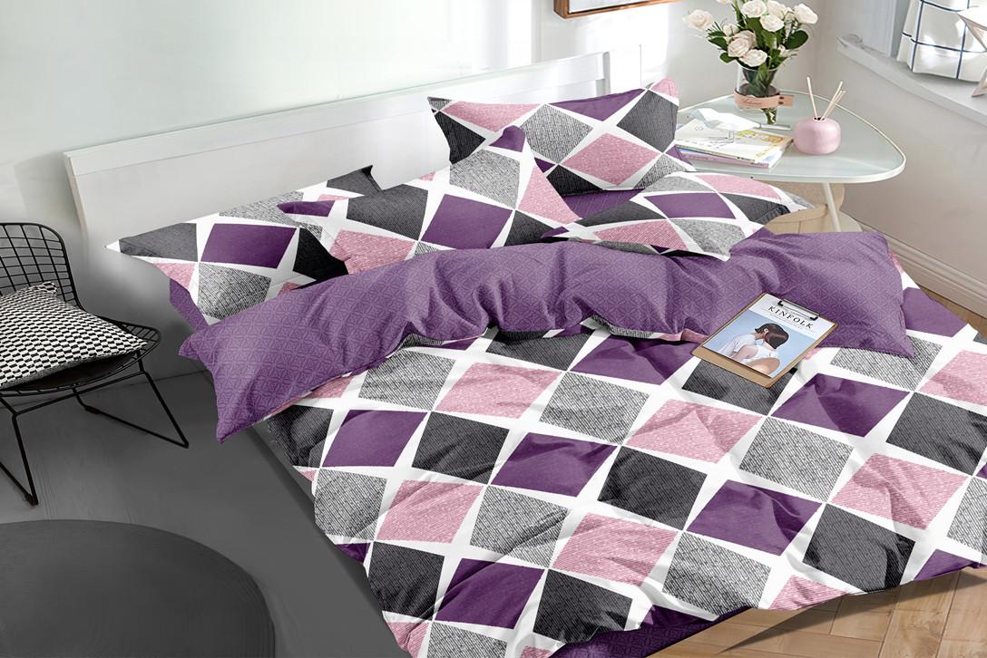 Двуспальный комплект постельного белья евро 200*220 сатин (16172) TM КРИСПОЛ Украина