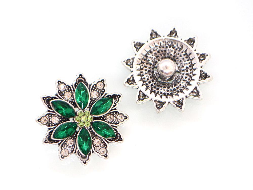 Кнопка Noosa Квітка з страз смарагдовий #58