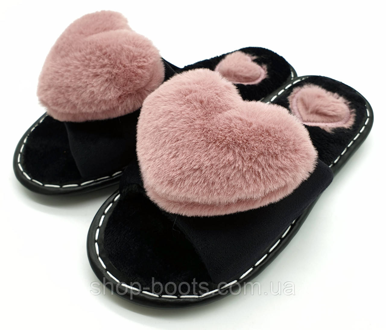 Женские тапочки с сердечком и открытым носком