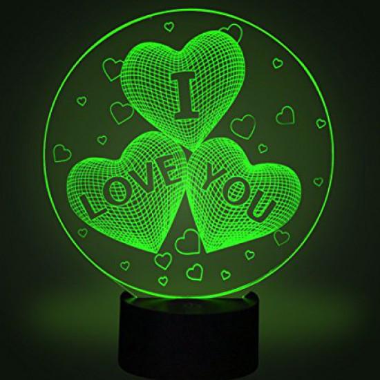 Настольный светильник 3D - I love you. белые