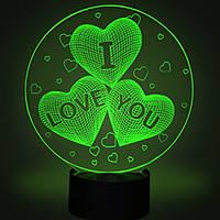 Настольный светильник 3D - I love you. белые, фото 1