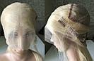 Длинный парик-система блонд #613 на полной сетке из натуральных волос, имитация кожи головы, фото 10