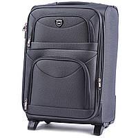 Дорожный тканевый чемодан на колесах Wings 6802 размер S ручная кладь, текстильный чемодан серого цвета