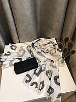 Шарф теплый с красивым принтом 180х66 см, Белый