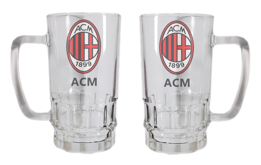 Бокал для пива стеклянный логотип ФК Милан