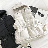 Жилетка женская на синтепоне стильная чёрный, молоко 42-44,46-48, фото 3