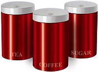 Набор банок Berlinger Haus Burgundy 3 банки Ø11х17.8см из нержавеющей стали для кофе, чая и сахара