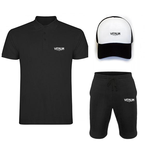 Комплект тройка кепка шорты и поло Венум, для мужчин